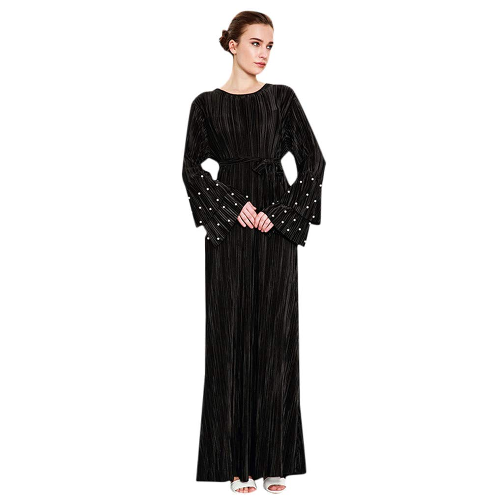 ZOMUSAR New Muslim Clothing for Women, Women Ethnic Robes Abaya Islamic Muslim Middle East Maxi Dress Bandage Kaftan Black