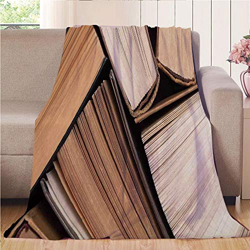 Blanket Comfort Warmth Soft Cozy Air Conditioning Fleece Blanket Perfect for Couch Sofa Or Bed,Abstract Home Decor,Pile of Old Books Research Reading Library Education Literature Theme Picture,Brown ()