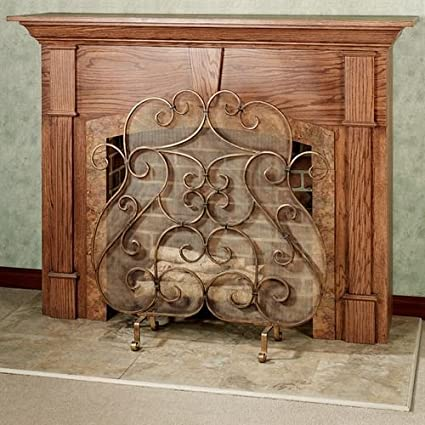 Amazon Com Touch Of Class Castleton Fireplace Screen Antique Gold