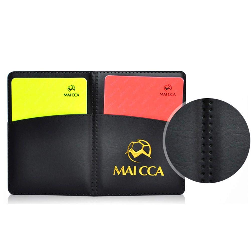Lucky-all star Les Cartes de Football Rouges et Jaunes enregistrent l/équipement doutil darbitre de Carton Jaune avec Un Stylo /à Bille et Un /étui en Cuir