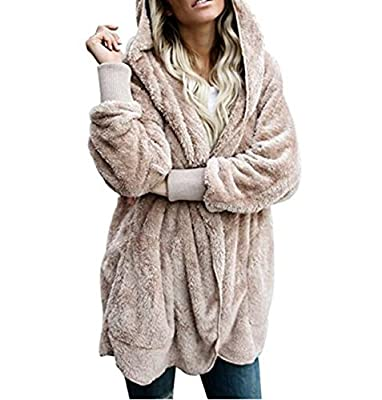 ASSKDAN Women's Fuzzy Velvet Open Front Loose Fitting Long Jacket Coat with Hood