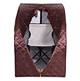 Portable 2L Steam Sauna With Chair Coffee Color Home Tent Pot Machine Heater Indoor Therapeutic Therapy Spa Full Body Slimming Detox Weight Loss Slim Reduce Stress Adjustable Temperature