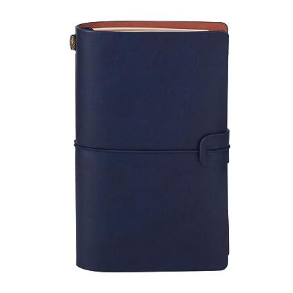 Cuaderno de Viaje Estilo Vintage Típico Dario Agenda con Funda de Cuero Sintético para Apuntar Día a Día (azul)