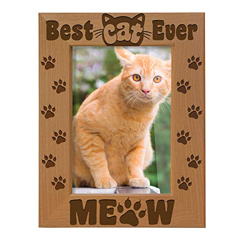 KATE POSH - Best Cat Ever Photo Frame - Cat and Kitten Paws - Engraved Natural Wood Picture Frame - Meow Picture Frame, Cat Picture Frame, Cat Mom Gifts (4x6-Vertical)