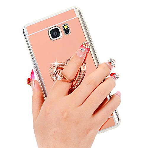 Galaxy Note 5 Case - Maviss Diary 3D Handmade Bling Crystal Elegant Love Heart with Metal Ring Stand Holder 360-degree Rotating Design Rose Gold Mirror Soft TPU Clear Cover for Samsung Galaxy Note 5