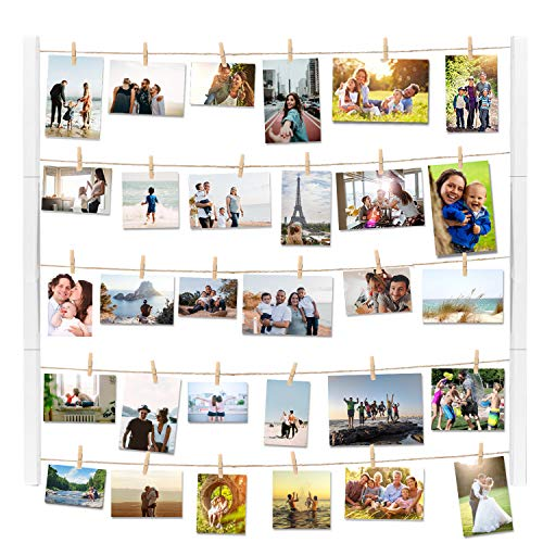 Vencipa Multi Photo Display Pictures Organizer for Hanging Wall Decor, DIY Wood Picture Frames Collage with 30 Clips, 28'' X 22'' inch Vertical & Horizontal Display (White).
