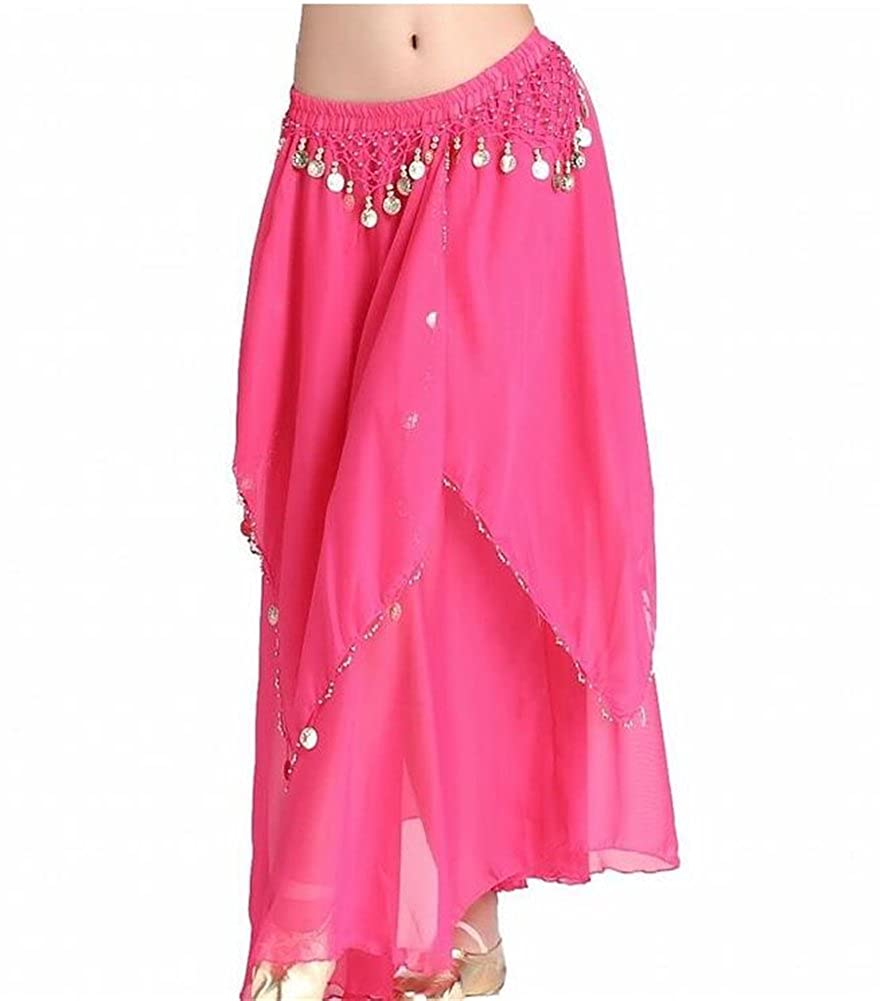 ZYZF Women's Belly Dance Long Sheer Flowy Chiffon Skirt With Coins 20160728092
