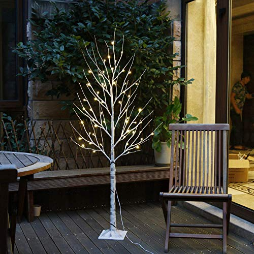 EAMBRITE 6FT 88LT Warm White LED Winter Artificial Birch Wedding Christmas Home Decorative Tree Light for Indoor and Outdoor Use (4 Christmas Ft Clearance White Tree)