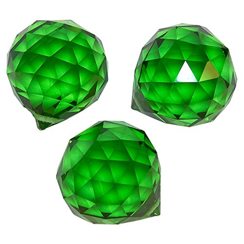Juvale 3-Piece Crystal Suncatchers - Hanging Faceted Crystal Balls, Decorating Feng Shui Prism Pendants, Green, 1.7 (Drilled Teardrop Green)