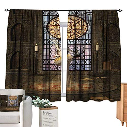 - Ediyuneth Blackout Draperies for Bedroom Kitchen Gothic,Lectern on Pentagram Symbol Medieval Architecture Candlelight in Dark Altar,Olive Green Mustard 72