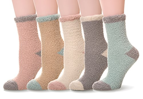 WENER Women's Womens 5 pairs Super Soft Microfiber Fuzzy Winter Warm Slipper Home Socks (Solid color) -