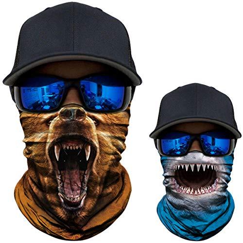 2 Pack - 3D Animal Neck Gaiter Shield Scarf Bandana Face Mask Seamless UV Protection for Motorcycle Cycling Riding Running Fishing Hiking Camping Brown Bear + Shark