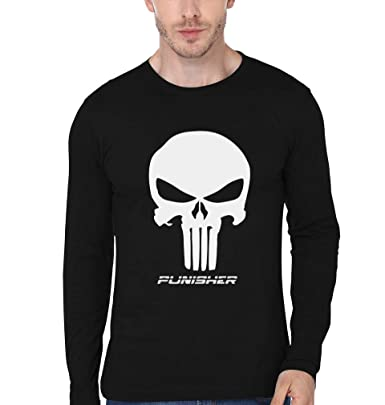 19506058 EKTARFA Men's Cotton Punisher Full Sleeves T-Shirt (Black): Amazon ...