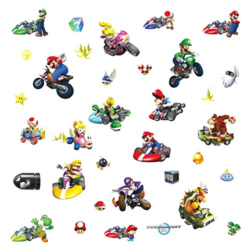 Removable Wii Wall Mario Decorations Kart (Roommates 771Scs Nintendo Mario Kart Peel And Stick Wall Decals, 34)