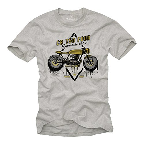 Playeras Motorcycles Vintage - T-Shirt Moto CB 750 - Ropa Cafe Racer Gris S
