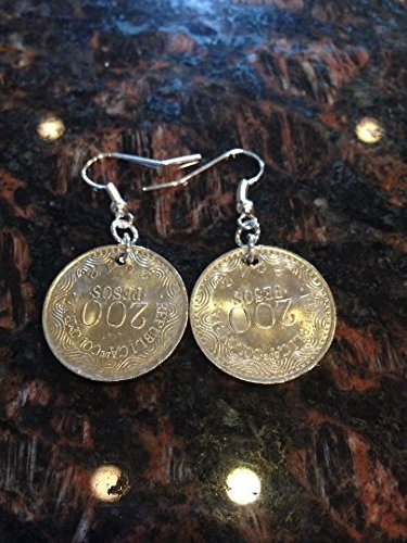 - Colombia 200 pesos coin earrings