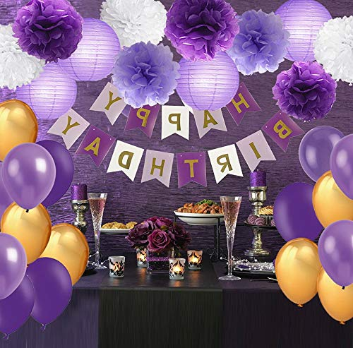 Mikash Purple Party tions- Lavender Purple Gold White Pom Poms Flowers Paper Lanterns Mixed Party Balloons for Birthday Party Wedding Party Tion (Lavender, Purple, Gold) | | Model WDDNG - 290
