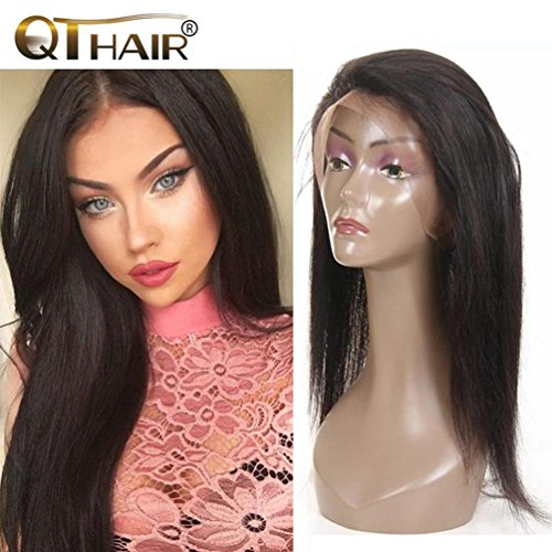 QTHAIR Pre Plucked 360 Lace Band Frontal Closures 14inch Indian Straight Virgin Human Hair 360 lace frontal Closures with Natural Hairline Indian Straight Hair Lace Frontal (Closure Adjustable Knot)