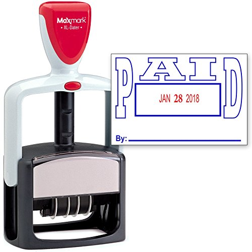 2000 Plus Heavy Duty Style 2-Color Date Stamp with Paid self Inking Stamp - Blue/Red Ink - 2000 Plus Self Inking Stamps