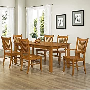 coaster home furnishings 7 piece mission style solid hardwood dining table chairs set - All Wood Dining Room Table
