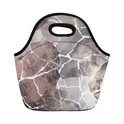 Semtomn Lunch Bags Abstract Imprints Stones Hand Digital Drawing and Watercolor Nature Neoprene Lunch Bag Lunchbox Tote Bag Portable Picnic Bag Cooler Bag