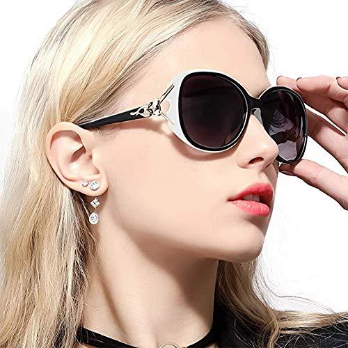 White Oversized Fashion Designer Sunglasses - Classic Polarized Oversized Sunglasses for Women HD Lens UV Protection shades Fashion Retro Goggle Designer Eyewear (White Frame/Shades Grey Oversized Polarized Sunglasses)