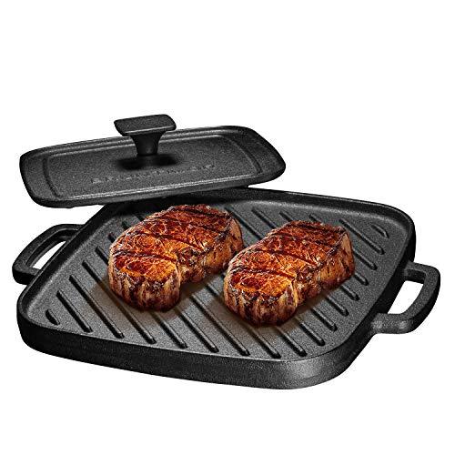 (Bruntmor Pre-Seasoned Cast Iron Single Burner 10X10 Reversible Grill Griddle w/Heavy Grill Press )