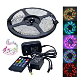 Jiawen Music Sound Activated 5M 3528 RGB Waterproof 300LEDs RGB Flexible Color Changing LED Strip For Xmas Lighting Indoor Outdoor Backlighting Wedding Decoration