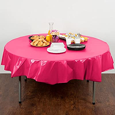 Creative Converting Touch of Color 82-inch Round Plastic Table Cover , Hot Magenta (Pack of 2) from Creative Converting