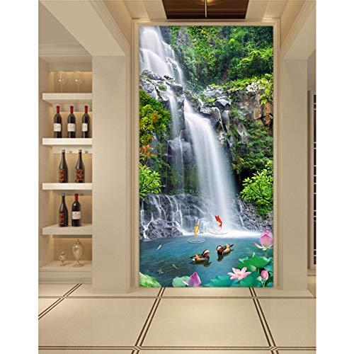 Amazhen Silk Mural 3D Room Wallpaper Custom Mural Wall Sticker Carp Leap The Waterfall Porch Paintings Photo Wallpaper for Walls 3D,400cm300cm