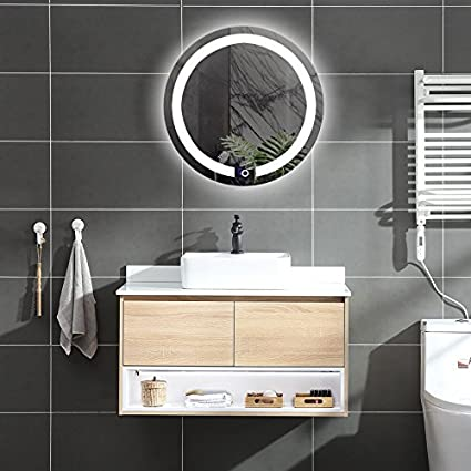 DIYHD D:23.6u0026quot; Wall Mount Round Led Lighted Bathroom Mirror Vanity  Defogger Lights Touch