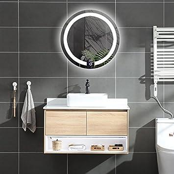 DIYHD D:23.6 Wall Mount Round Led Lighted Bathroom Mirror Vanity Defogger Lights Touch Light Mirror (Dia:23.6)