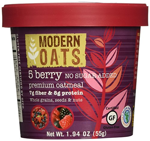 Modern Oats Premium Oatmeal Cups No Sugar Added 5 Berry 1.94 Ounce (Pack of 12) NSA Non-GMO Whole Grain Gluten-Free 7g Fiber & 8g Protein Per Cup