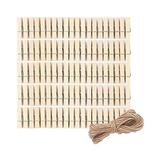 Miukada 100 Pieces Mini Wooden Photo Peg Pins Small Clothes Pins Craft Clips With 10 Meters Jute Twine For Paper Photo Hanging Holiday Décor