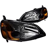 Spec-D Tuning 2LH-CV01JM-RS Honda Civic 4Dr Dx Lx Ex Jdm Black Head Lights Lamps Pair