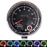 ZJP-Car Instruments 3,75 Pulgadas 7 Colores Ajustable tacómetro de modificación del Coche 12 V tacómetro Universal del Coche 0~8 × 1000 RPM Dispositivo Sensor