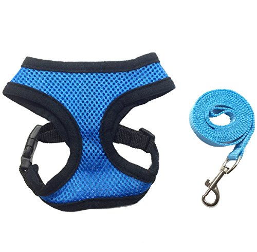 FUNPET Soft Mesh Cat Harness with Nylon Leash Adjustable for Small Pet Dog and Cat Blue S