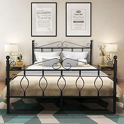 GreenForest Bed Frame Metal Platform Complete Bed with Vintage Headboard and Footboard Box Spring Replacement Steel Slats Bed, Black