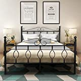 GreenForest Bed Frame Queen Size Metal with Headboard Footboard Steel Platform Bed Strong Mattress Foundation No Box Spring Needed, Black