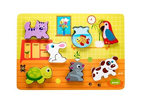 Wooden Chunky Puzzle: Animal Figurines for Toddlers, Educational Toy for Preschool Kids from 12 Months Old, Cute Colorful Pet Shapes, Solid Wood Easy to Hold, Motor and Cognitive Skills Development