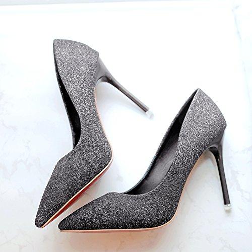 fina con y zapatos mujer punta 7 wedding de shoes Oro plata centímetros tacones boda 36 Wild SgHnBw
