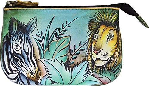 Anuschka Medium Organizer Pouch / Coin Purse | Genuine Leather, Hand-painted Original Art | African Adventure