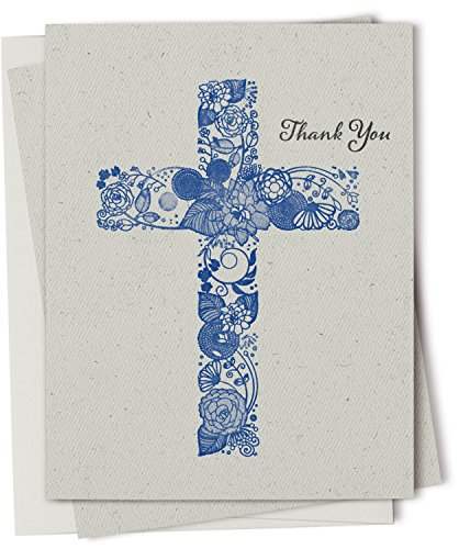 Christian Thank You Card Set - 12 Recycled Cards and Envelopes - Made in USA