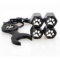 INCART Universal Stainless steel (4pcs) Car Tire Valve Stem Air Caps Cover + (1pcs) Wrench Keychain Fashion Style Cool Skull Black Black CTC02-BK-BP