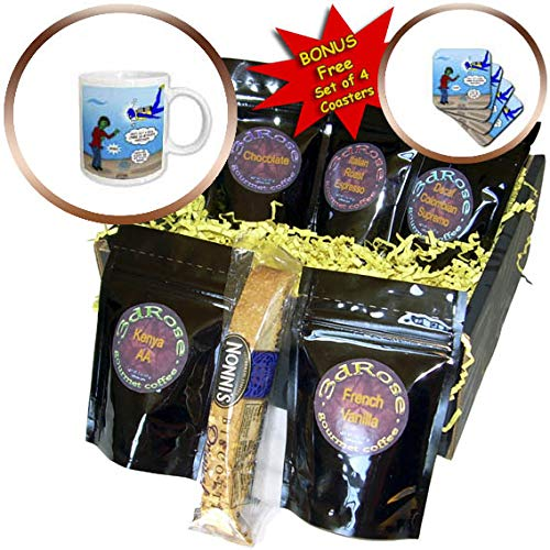 (3dRose Rich Diesslins Funny Out to Lunch Cartoons - Underwater Zombie or SCUBA Diver Nitrogen Narcosis - Coffee Gift Baskets - Coffee Gift Basket)