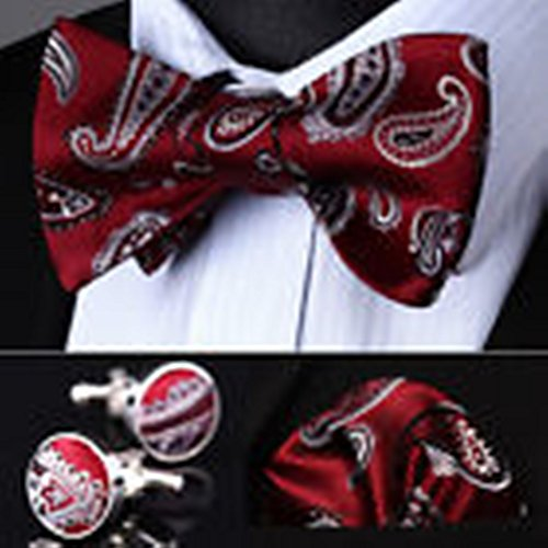 [Mondaily DL09R Red Gray Paisley Men Silk Self Bow Tie handkerchief Cufflinks set #PPTE4376] (Cats Musical Halloween Costumes)