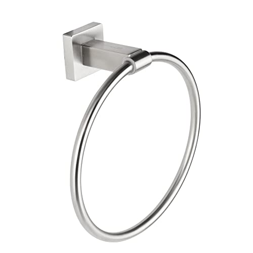 JOMOLA 304 Stainless Steel Bath Towel Ring Bathroom Accessories Contemporary Hotel Square Style Wall Mount