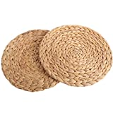 kilofly 2pc Natural Water Hyacinth Weave Placemat Round Braided Rattan Tablemats
