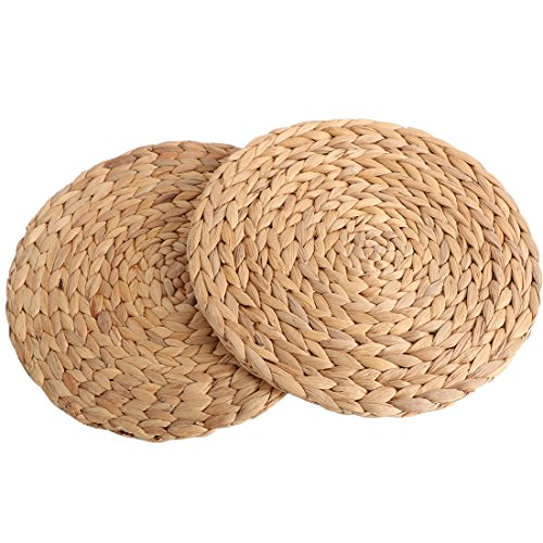 kilofly 2pc Natural Water Hyacinth Weave Placemat Round Braided Rattan Tablemats, 11 inch
