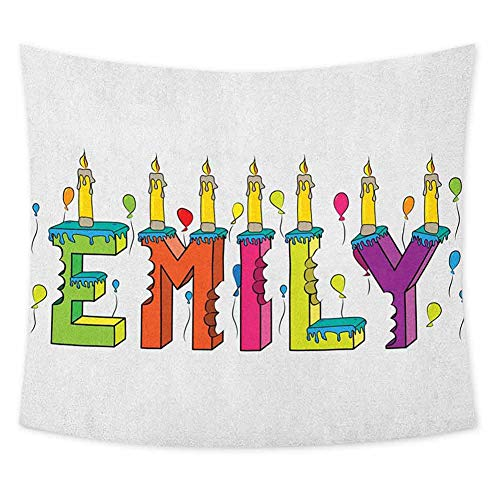 Grateful Dead Birthday Cake (jecycleus Emily Grateful Dead Tapestry Cartoon Doodle Birthday Cake with Cheerful Event Pattern Balloon Filled Background Wall Decor for Bedroom Tapestry W55 x L55 Inch)